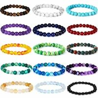Men Women Natural Stone Agate Beads Bracelets Tiger Eye Turquoise Charm Jewelry