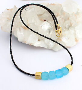 Spinel Chain With Chalcedony Gemstone Necklace Faceted Black Designer Necklace