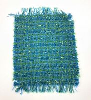 """Small Rectangle Table Doily Mid Century Blue Green Basket Weave Textured 9"""" x6"""""""