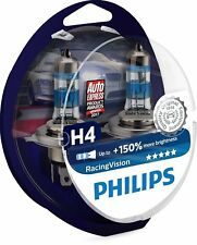 Juego 2 Bombillas Faros Frontales Coche Philips RacingVision H4 Xtreme Extreme