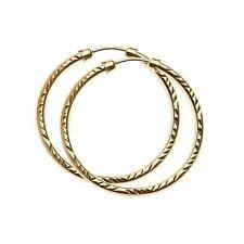 9ct Gold 26mm Large Diamond Cut Capped Tube Hing Hoop Earrings Anniversary Gift