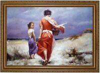 Ölbild, Mutter mit Mädchen am Strand, Meeresstrand, HANDGEMALT  F:ca 60x90cm