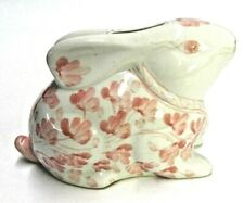 VINTAGE CERAMIC EASTER BUNNY COIN BANK PINK & WHITE W/RUBBER STOPPER SHABBY CHIC