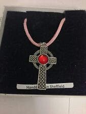 Interlaced Cross RED Gem CGC Pewter Pendant on a Pink Cord Necklace