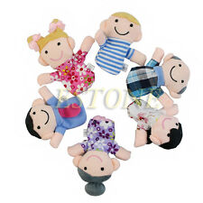 6pcs Kids Baby Family Finger Puppets Plush Cloth Doll Play Game Learn Story Toys