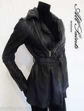 STUNNING WOMENS ALL SAINTS NETIA LEATHER JACKET COAT DRAPED BIKER BLACK 8 £450