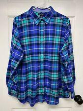 Lands' End Women's Plus L/S Flannel Button-Front Shirt: 1X, Blue /Green Plaid