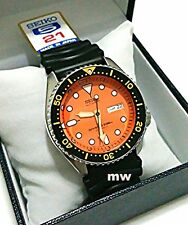 SEIKO MENS AUTO SCUBA 200M DIVER WATCH ORANGE DAIL SKX011J + Rubber Strap JAPAN