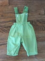 Vtg 70s 80s Carters Snap Legs USA Green Cotton Baby Romper Bib Overalls 12M