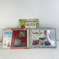 VTG Arrow Handicraft Leather Mosaic Tile Early American Wood kits unused 1969