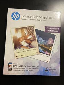 HP Photo Paper Sticky Back Social Media Snapshots (4x5) 25 sheets X11 (275) NEW