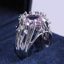 Pink Cubic Zirconia Ring Size 6 925 Silver Wedding Jewelry Ring For Women