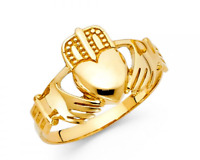 14K Solid Yellow Gold Men's Claddagh Ring Hands Heart Crown Claddagh Men's Ring