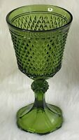 Indiana Glass Green Compote Diamond Point Candy Dish 11 Inches Tall