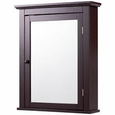 Bathroom Mirror Cabinet Wall Mounted Adjustable Storage Shelf Medicine Brown