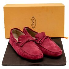 New TOD'S Maroon Suede Slip On Moccasins Driving Loafer Tod Shoes UK11 US12