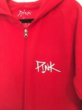 P!NK PINK SMALL ONE PIECE ADULT ROMPER WILD HEARTS RED ZIPPERED HOOD NEW RARE