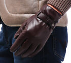 Men's Deluxe Genuine Leather Winter Driving Wrist Gloves 1 Button Black Brown F5