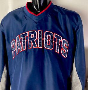 New England Patriots Pullover Windbreaker Jacket Big Spellout Sewn Logo Sz L NFL