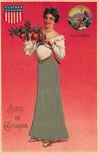Art Postcard State of California Woman Wearing Silk Green Skirt, Shield~115282
