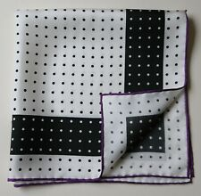 Silk Handkerchief Pocket Square 45cm White & black spotted, purple border