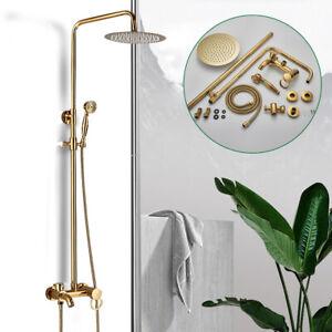 8'' Modern Bathroom Shower Faucet Set Faucet Rainfall Shower Head W/ Mixer Valve