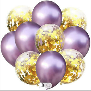 10 LARGE BALLOONS LILAC & GOLD CONFETTI WEDDING BIRTHDAY PARTY DECORATION