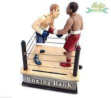 Cast Iron Heavy Boxing Bank Boxing Ring Moveable Boxers Novelty Money Box XBBOX