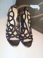 Enzo Angiolini New Womens Tinazio Black Glitt Multi Wedge Sandals Shoes 8 Medium