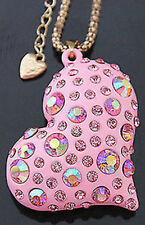 """Reduced!~Betsey Johnson """"Rare""""  crystal Heart  necklace & Free Gift USA SELLER"""