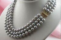 "3 Rows Aaa 10-9 Mm Natural Akoya Silver Grey Pearl Necklace 17"" 18"" 19"" 14k Gold"
