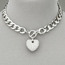 Rhodium Silver Chain Choker Style Necklace With Paved Rhinestone  Heart Pendant