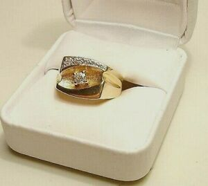 New 14kt Gold/Genuine DIAMOND Solitaire Man's Ring-Free Ship