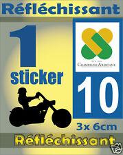 1 Sticker REFLECHISSANT département 10 rétro-réfléchissant immatriculation MOTO