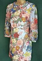 Rare TED BAKER Uk 10 Pale Blue Floral Butterfly SILK Tunic Shift Dress TB Size 2