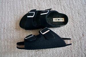 BN Bio Bio Boiled Wool Shearling Black Birkenstock Sandals 5 UK