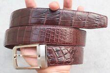 Dark Brown Genuine Alligator ,Crocodile Belly Leather Skin Men's Belt