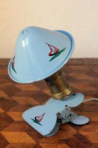 Vintage 1940/50s Duck Egg Blue Boat French Small Clip On Lamp Light Retro Kitsch