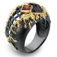 Cool Men Women 18K Filled Black Gold Band Ring Wedding Jewelry Gift Size 6-10