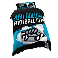 AFL Doona Quilt Cover With Pillow Case - Port Adelaide Power - All Sizes - BNWT