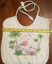 Vintage Bib Baby Infant Child Pink Flamingo Palm Trees Terry Cloth 1950's 12x12