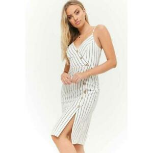 Forever 21 Dress Medium Striped Asymmetrical Button-Front Cami NWT Beige-Black
