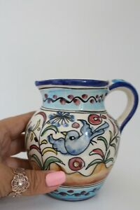 Lovely Vintage Hand Painted Small Jug - Floral / Birds - Portugal Signed 11cm