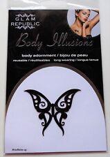 Glam Republic Glitter Temporary Stick On Body Tattoo Festival Black Butterfly