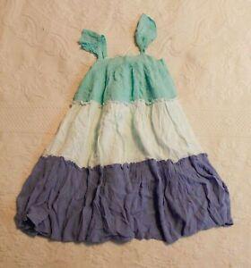 Gap Girl's Ruffle Sleeveless Tiered Dress SV3 Blue Size 5 Years NWT