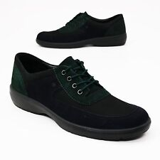 NEW Romika Size 42 (~11.5) Black & Green Nubuck Leather Lace-up Comfort Oxford