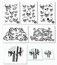 Skull Airbrush Painting Stencil Kit Set of 8 stencils Skeleton Bones & Skulls