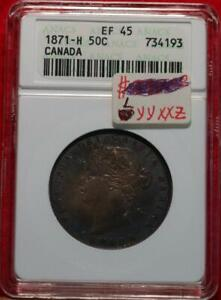 1871-H Canada 50 Cents Silver Foreign Coin ANACS EF 45