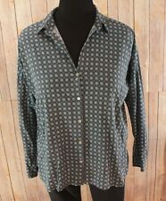 Navy blue shirt size small fits loose button front 3/4 sleeve J Jill hi lo rayon