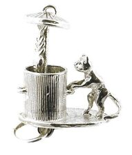 STERLING SILVER MOVING CAT IN DUSTBIN CHARM